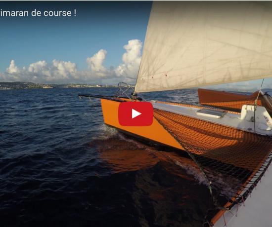 Video trimaran, bateau à voile rapide ( une coque en plus d'un catamaran)