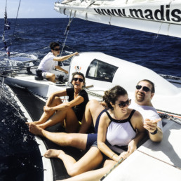 A family making a sailing excursion in Martinique
